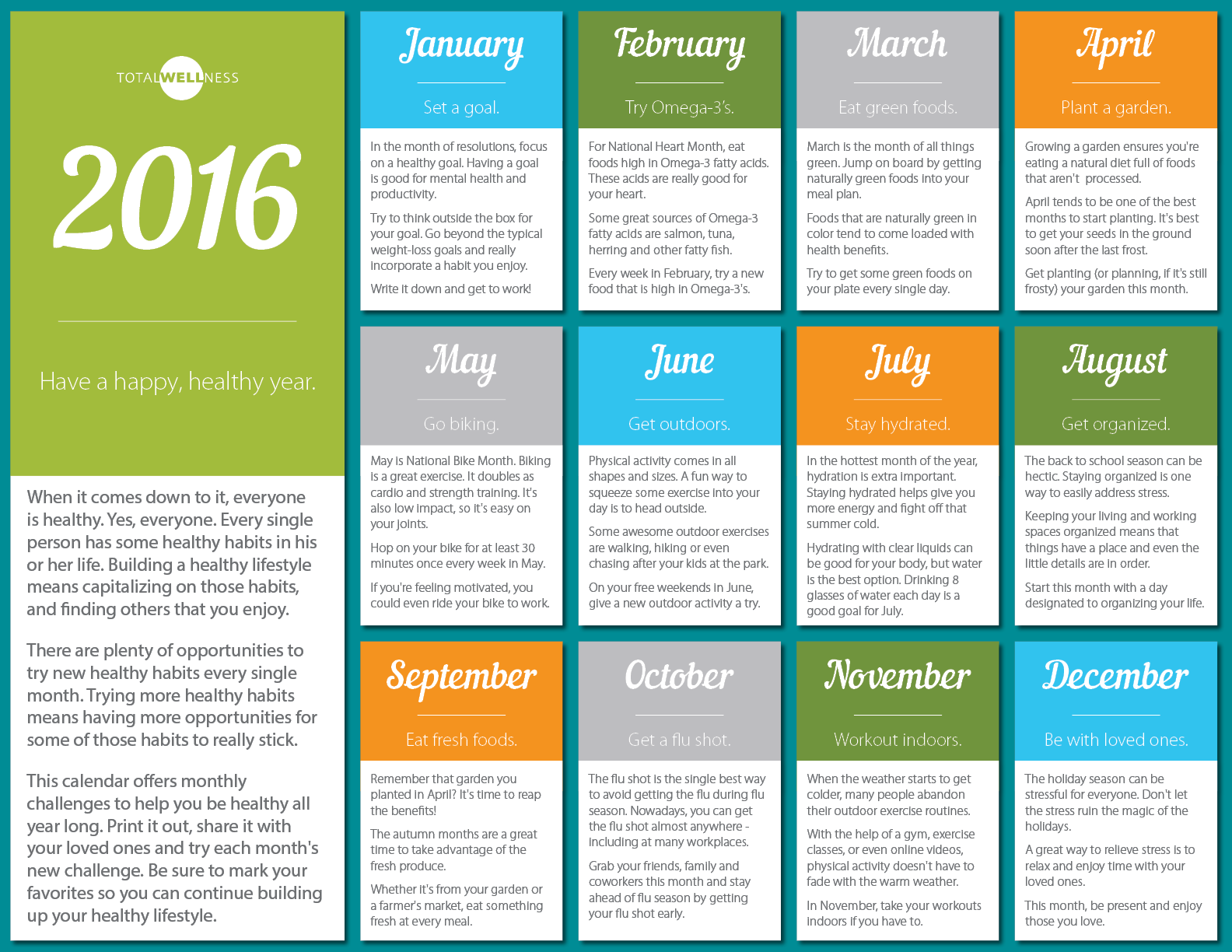 Monthly Calendar Health Awareness : Monthly health awareness themes for just b use